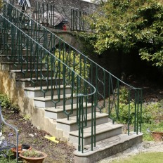 Artistic commission for staircase and railings with geometric pattern